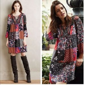 Anthropologie One Sunday ARCATA Patchwork Dress S